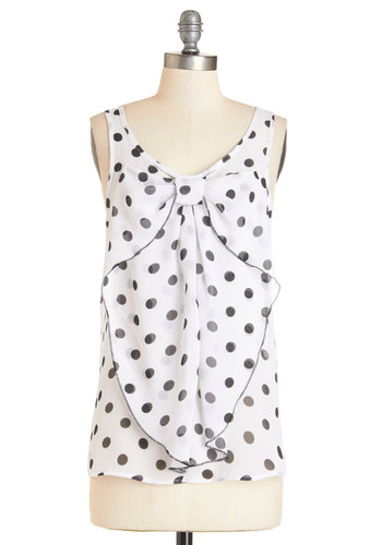 Hello, Bow! Top in Dotted White - Black/White, Sleeveless, Mid-length, Chiffon, Sheer, Woven, White, Black, Polka Dots, Work, Girls Night Out, Darling, Sleeveless, Best Seller, Variation, Bows