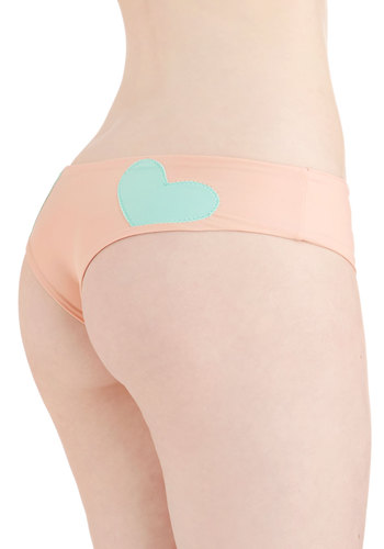 Be Chill My Heart Swimsuit Bottom by Lolli Swim - Knit, Orange, Solid, Novelty Print, Beach/Resort, Pastel, Darling, Athletic, Summer, Mint