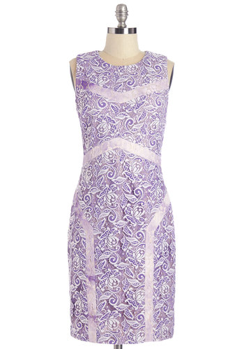 Impeccable Taste Dress - Purple, Lavender, Floral, Lace, Special Occasion, Shift, Sleeveless, Summer, Woven, Better, Scoop, Mid-length, Lace, Party, Daytime Party