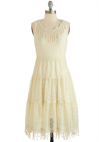 Adieu It Again Dress - Cream, Solid, Crochet, Lace, Trim, Daytime Party, A-line, Sleeveless, Woven, Better, Scoop, Mid-length, Boho, Vintage Inspired, 20s, French / Victorian, Wedding, Bride