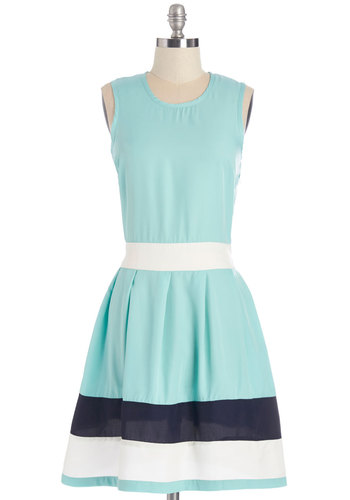 Coastal Companion Dress in Aqua - Black, Casual, Pastel, A-line, Sleeveless, Better, Scoop, International Designer, Variation, Mid-length, Woven, Blue, White, Nautical