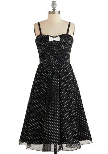 Laudable Dots Dress - White, Polka Dots, Bows, Ruching, Party, A-line, Sleeveless, Knit, Better, Sweetheart, Black, Prom, Homecoming, Vintage Inspired