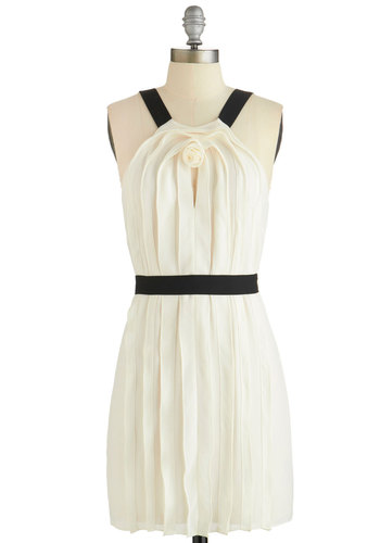 Modern Galvanizer Dress - Cream, Black, Solid, Belted, Special Occasion, Party, A-line, Sleeveless, Woven, Better, Scoop, Flower, Mid-length