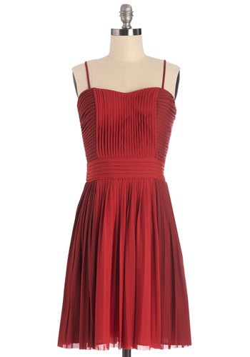 Red Carpet Romance Dress - Wedding, Bridesmaid, Short, Woven, Red, Solid, Pleats, Special Occasion, Prom, A-line, Spaghetti Straps, Better, Sweetheart, Exclusives, Social Placements, Party, Valentine's, Homecoming