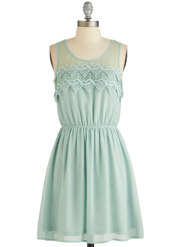 Peach Julep Dress in Mint - Mint, Solid, Crochet, Casual, A-line, Sleeveless, Woven, Good, Scoop, Daytime Party, Variation, Mid-length