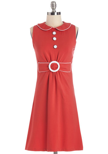Splendid, My Darling Dress - Red, White, Buttons, Peter Pan Collar, Trim, Casual, Shift, Sleeveless, International Designer, Collared, Vintage Inspired, 60s, Mod, Summer, Knit, Show On Featured Sale, Mid-length