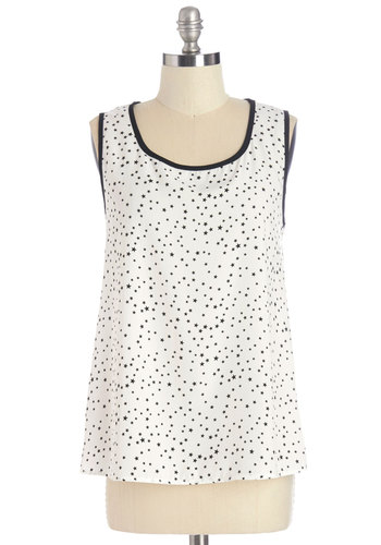 Show and Stellar Top - Mid-length, Woven, White, Novelty Print, Casual, Cosmic, Sleeveless, Summer, Exclusives, White, Sleeveless, Black, Trim, Scoop, Good