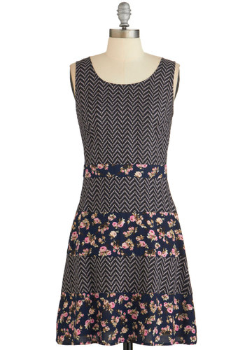 So Fresh and So Keen Dress - Multi, Floral, Chevron, Casual, A-line, Sleeveless, Summer, Woven, Good, Scoop