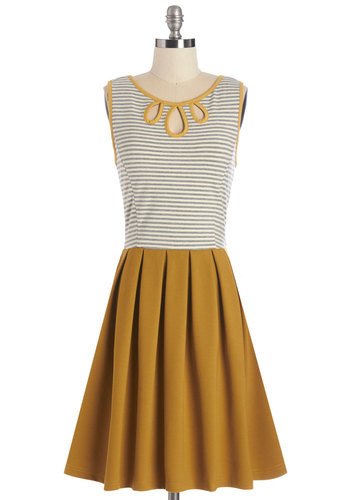 Dear Creatures Glimpses of Sun Dress by Dear Creatures - Yellow, Grey, Stripes, Cutout, Pleats, Casual, A-line, Twofer, Sleeveless, Better, Scoop, Mid-length, Knit, Nautical