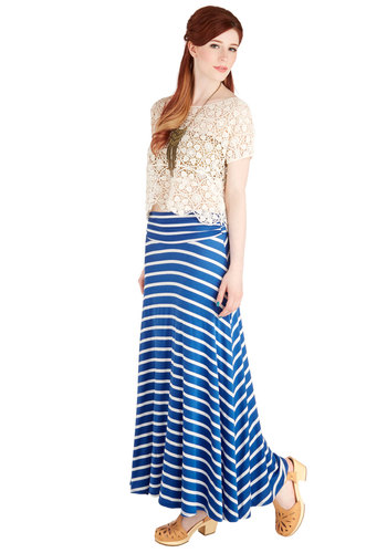 Breeze are the Days Skirt - Long, Jersey, Knit, Casual, Maxi, Spring, Summer, Blue, Stripes, Blue, Beach/Resort, Nautical, Good