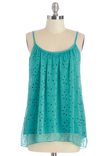 Beckoning Breeze Tank - Mid-length, Woven, Blue, Solid, Eyelet, Festival, Spaghetti Straps, Summer, Blue, Sleeveless, Backless, Beach/Resort, Social Placements