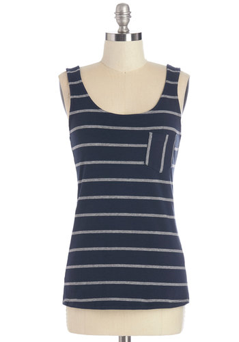 Sunset Hike Top in Navy - Cotton, Knit, Blue, Grey, Stripes, Pockets, Casual, Tank top (2 thick straps), Summer, Variation, Blue, Sleeveless, Good, Top Rated