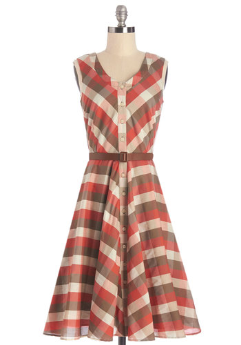 Plaid to See You Dress by Myrtlewood - Cotton, Woven, Red, Brown, Plaid, Buttons, Belted, Casual, A-line, Sleeveless, Better, Scoop, Multi, Pockets, Vintage Inspired, 50s, Scholastic/Collegiate, Exclusives, Private Label, Social Placements, Full-Size Run, Press Placement, Long