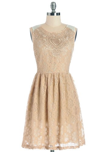 Fanciful Finesse Dress - Tan, Tan / Cream, Crochet, Lace, Party, A-line, Summer, Woven, Better, Scoop, Mid-length, Lace, Sleeveless