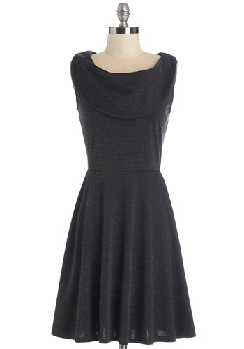 Everyday Accolades Dress in Charcoal - Knit, Black, Solid, Casual, A-line, Sleeveless, Good, Work, Exclusives, Full-Size Run, Mid-length