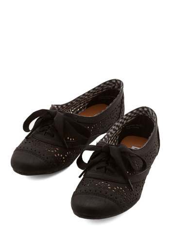 Jazz on the Patio Flat in Black - Flat, Faux Leather, Black, Solid, Crochet, Cutout, Menswear Inspired, Vintage Inspired, 20s, 30s, Good, Lace Up, Casual, Variation, Top Rated