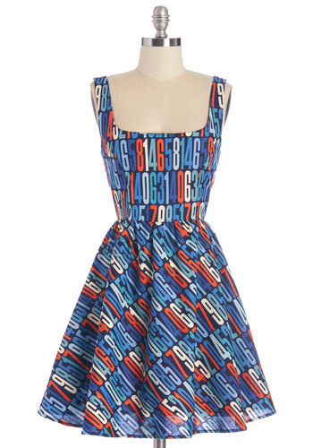 The Sum of Adorable Dress - Multi, Novelty Print, Casual, Fit & Flare, Sleeveless, Woven, Better, Cotton, Quirky, Scoop, Scholastic/Collegiate, Nifty Nerd, Press Placement, Full-Size Run, Mid-length