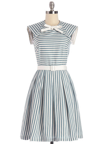 Hit the Sail Dress by Myrtlewood - Cotton, Woven, Blue, White, Stripes, Bows, Belted, Casual, Nautical, A-line, Sleeveless, Summer, Better, Pockets, Exclusives, Private Label, Social Placements, Top Rated, Long, Full-Size Run