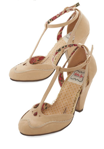 Classic Confection Heels in Tan by Bettie Page - Mid, Faux Leather, Tan, Solid, Scallops, Prom, Wedding, Party, Daytime Party, Graduation, Bridesmaid, Bride, Vintage Inspired, 20s, Darling, Better, T-Strap, Variation, Social Placements