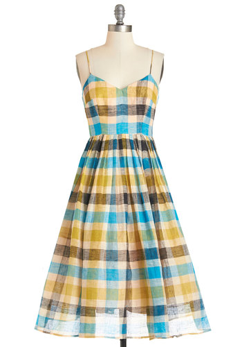 Tracy Reese Sublime and Again Dress by Tracy Reese - Multi, Plaid, Exposed zipper, Pleats, Daytime Party, A-line, Woven, Best, Sweetheart, Spaghetti Straps, Long