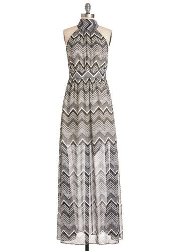 This Way to Wonderful Dress - Black, White, Chevron, Maxi, Sleeveless, Woven, Better, Halter, Long, Chiffon, Girls Night Out