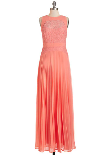Guava Have It Dress - Coral, Special Occasion, Prom, Wedding, Bridesmaid, Solid, Lace, Pleats, Maxi, Sleeveless, Summer, Woven, Best, Scoop, Long, Chiffon, Lace, Homecoming
