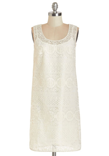 Not a Moment Too Swoon Dress - White, Solid, Lace, Daytime Party, Shift, Sleeveless, Summer, Woven, Lace, Better, Scoop, Embroidery, Wedding, Bride, Full-Size Run