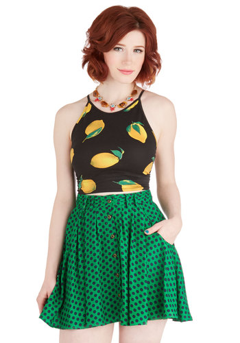 Beat of the Moment Skirt - Short, Green, Polka Dots, Buttons, Pockets, Party, Casual, Full, Spring, Summer, Woven, Green, Good, Satin, Blue, A-line