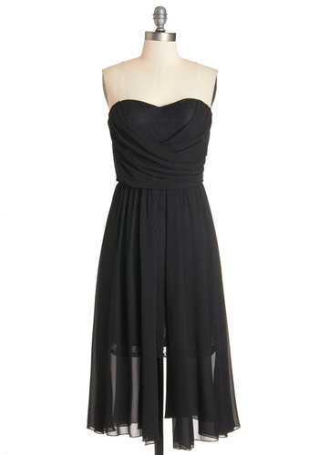 Love Me Splendor Dress - Black, Solid, Special Occasion, Party, A-line, Strapless, Woven, Better, Sweetheart, Long, LBD