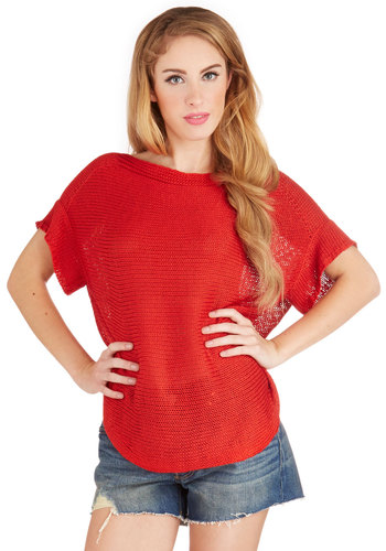 Wanna Be Outside Sweater - Red, Short Sleeve, Mid-length, Knit, Red, Solid, Casual, Short Sleeves