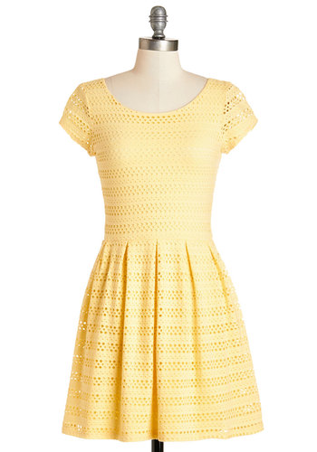 Step into the Pastel Dress in Buttercup - Short, Cotton, Knit, Yellow, Solid, Eyelet, Daytime Party, A-line, Short Sleeves, Better, Scoop, Variation