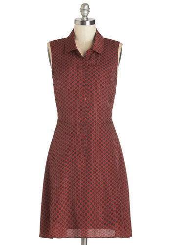 Playlist Perfection Dress by Jack by BB Dakota - Red, Blue, Print, Buttons, Casual, A-line, Sleeveless, Woven, Good, Collared