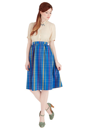 Rad in Plaid Skirt - Long, Woven, Blue, Plaid, Work, 50s, Scholastic/Collegiate, Full, Spring, Summer, Better, Blue, Pockets, Vintage Inspired, High Waist, Good