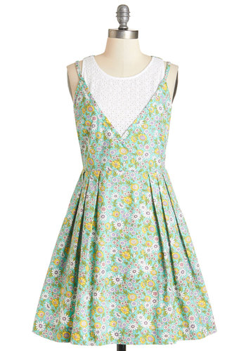 Stay Sweet Dress by Louche - Multi, Floral, Eyelet, Pleats, Casual, Sundress, A-line, Sleeveless, Summer, Woven, Better, International Designer, Scoop, Mid-length, Cotton, Green, Exposed zipper, Pockets