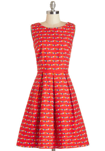 Chalk of the Town Dress in Flags by Bea & Dot - Cotton, Woven, Red, Multi, Print, Pleats, A-line, Sleeveless, Better, Pockets, Darling, Exclusives, Variation, Private Label, Boat, Novelty Print, Daytime Party, Long
