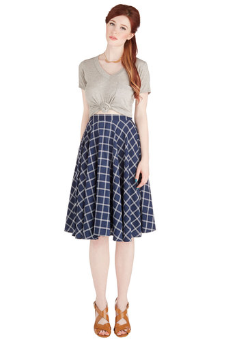 Framework of Mind Skirt - Good, Blue, Work, Full, Blue, White, Print, Scholastic/Collegiate, Plaid, High Waist, Fall
