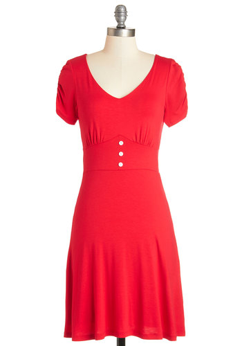 Fine Felicity Dress - Red, Solid, Buttons, Ruching, Casual, Americana, A-line, Short Sleeves, Knit, Good, V Neck, Mid-length, Jersey, Vintage Inspired, 50s