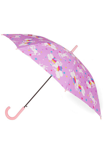Fantastical Forecast Umbrella - Woven, Purple, Multi, Print with Animals, Quirky, Novelty Print, Kawaii