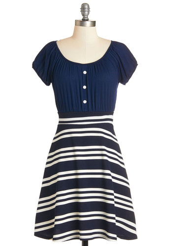 Jovial Journey Dress - White, Blue, Stripes, Buttons, Casual, Americana, A-line, Short Sleeves, Summer, Knit, Good, Scoop, Mid-length, Nautical, Twofer, Top Rated