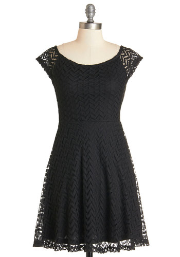 Posh Perspective Dress - Black, Chevron, Casual, A-line, Cap Sleeves, Knit, Good, Scoop, Exposed zipper, Mid-length