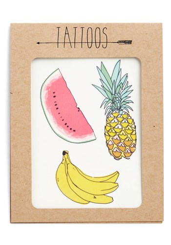 Fruit for Thought Temporary Tattoo Set - Multi, Casual, Fruits, Summer, Social Placements