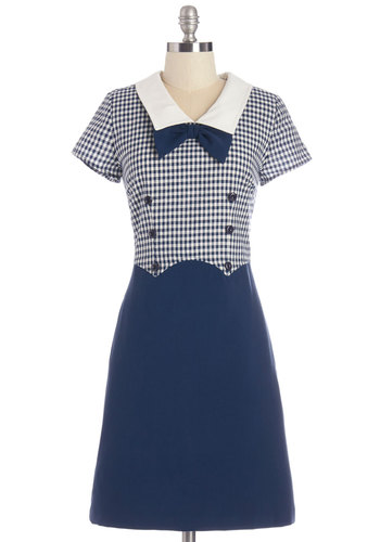 Yesteryear's Finest Dress by Myrtlewood - Knit, Blue, White, Bows, Buttons, Casual, Nautical, Shift, Short Sleeves, Summer, Better, Checkered / Gingham, Pockets, Exclusives, Private Label, Show On Featured Sale, Mid-length