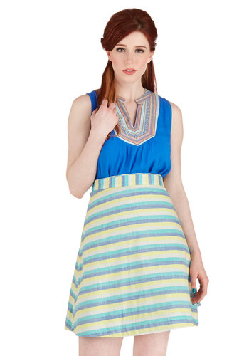 Twice the Treat Skirt in Stripes by Bea & Dot - Mid-length, Cotton, Woven, Multi, Stripes, Casual, A-line, Summer, Exclusives, Variation, Private Label, Good