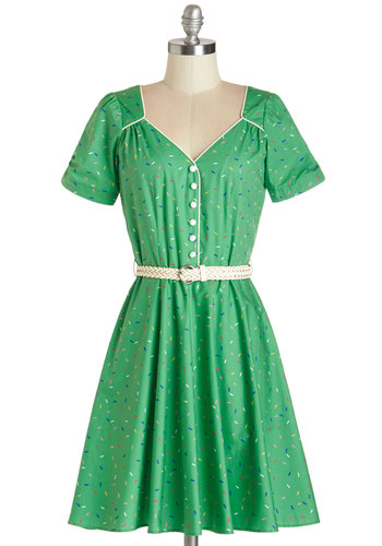 Even Sweeter Dress by Trollied Dolly - Green, White, Novelty Print, Buttons, Trim, Belted, Casual, A-line, Short Sleeves, Summer, Woven, Better, V Neck, International Designer, Mid-length, Cotton, Multi, Vintage Inspired, 40s, 50s