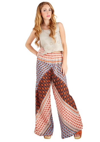 Palazzo to Talk About Pants - Wide Leg, Summer, Good, Mid-Rise, Full length, Multi, Non-Denim, Woven, Multi, Print, Boho, Vintage Inspired, 70s, Festival, High Waist