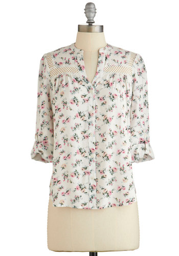 Treat the Parents Top in White Floral - White, Pink, Floral, Buttons, Casual, Long Sleeve, Spring, Variation, White, Tab Sleeve, Sheer, Woven, WPI, Mid-length