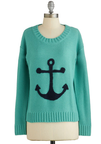 That's Moor Like It Sweater - Blue, Green, Novelty Print, Knitted, Nautical, Long Sleeve, Spring, Blue, Long Sleeve, Casual, Woven, Knit
