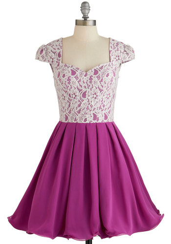 Loganberry Beautiful Dress in Purple by Chi Chi London - Purple, White, Print, Cutout, Lace, Special Occasion, Prom, Wedding, Bridesmaid, Homecoming, Fit & Flare, Cap Sleeves, Better, Sweetheart, Pleats, Variation, Party, Woven, Long, Valentine's