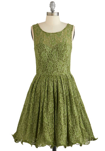 Cherished Celebration Dress in Olive by Chi Chi London - Green, Solid, Lace, Special Occasion, Prom, Wedding, Bridesmaid, Homecoming, Fit & Flare, Tank top (2 thick straps), Better, Scoop, Mid-length