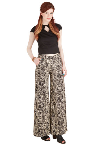 Marbleize on the Prize Pants - Wide Leg, Good, Mid-Rise, Full length, Brown, Non-Denim, Woven, Black, Tan / Cream, Print, Pockets, Vintage Inspired, 70s, Festival, Boho